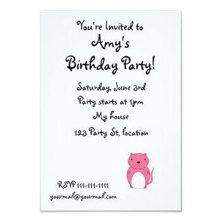 """Cute pink cat 3.5"""" x 5"""" invitation card"""