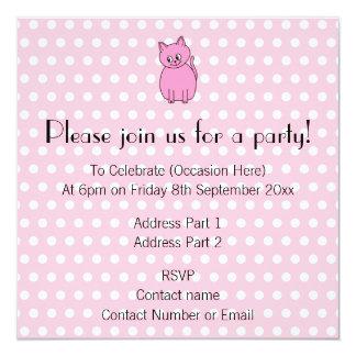 Cute Pink Cat. 5.25x5.25 Square Paper Invitation Card