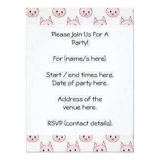 Cute Pink Cat Pattern 17 Cm X 22 Cm Invitation Card
