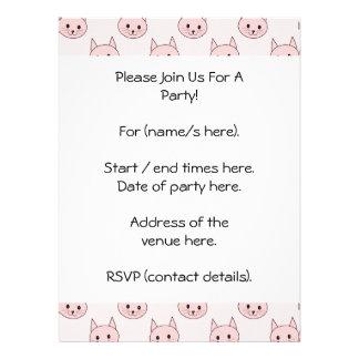 Cute Pink Cat Pattern Invite