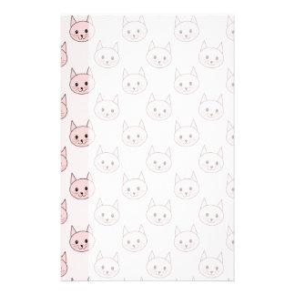 Cute Pink Cat Pattern Stationery