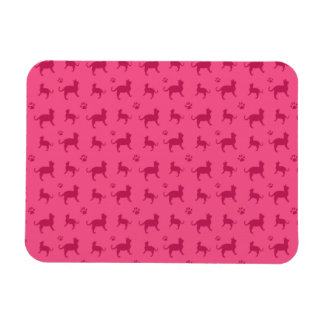 Cute pink cats and paws pattern magnet