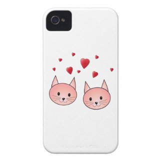 Cute Pink Cats with Hearts. iPhone 4 Case
