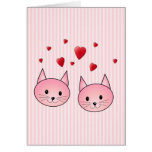 Cute Pink Cats, with Red Love Hearts. Greeting Cards