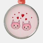 Cute Pink Cats, with Red Love Hearts. Christmas Ornament