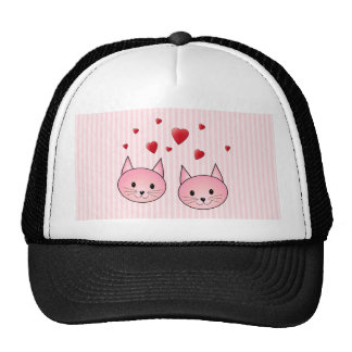 Cute Pink Cats with Red Love Hearts Mesh Hat