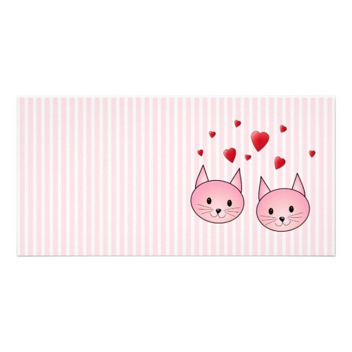 Cute Pink Cats, with Red Love Hearts. Photo Card Template