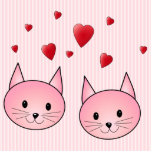 Cute Pink Cats, with Red Love Hearts. Photo Cut Outs
