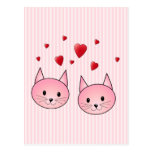 Cute Pink Cats, with Red Love Hearts. Post Card