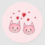 Cute Pink Cats, with Red Love Hearts. Stickers