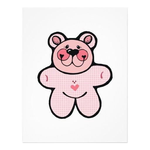 cute pink checkered  bear flyer