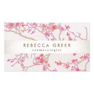 Cute Pink Cherry Blossoms Floral Beauty Double-Sided Standard Business Cards (Pack Of 100)