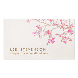 Cute Pink Cherry Blossoms Floral Narure Double-Sided Standard Business Cards (Pack Of 100)