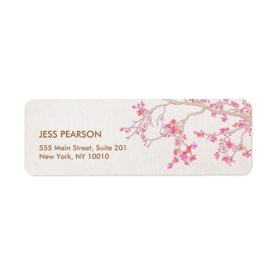 Cute Pink Cherry Blossoms Floral Nature Return Address Label