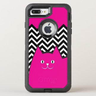 Cute Pink Chevron Kitty Cat OtterBox Defender iPhone 7 Plus Case
