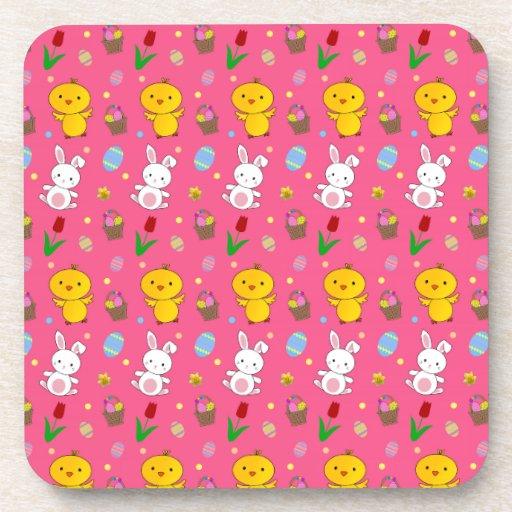 Cute pink chick bunny egg basket easter pattern beverage coasters