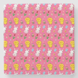 Cute pink chick bunny egg basket easter pattern stone coaster