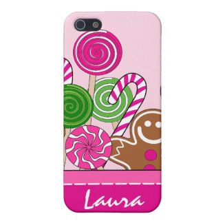 Cute pink Christmas gingerbreads iPhone 5 Cases