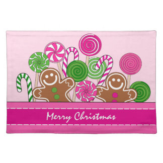 Cute pink Christmas gingerbreads Placemat
