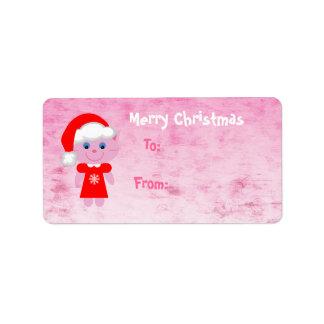 Cute Pink Christmas Santa Cat Address Label
