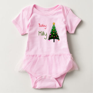 "Cute pink ""Christmas tree"" personalised Baby Bodysuit"