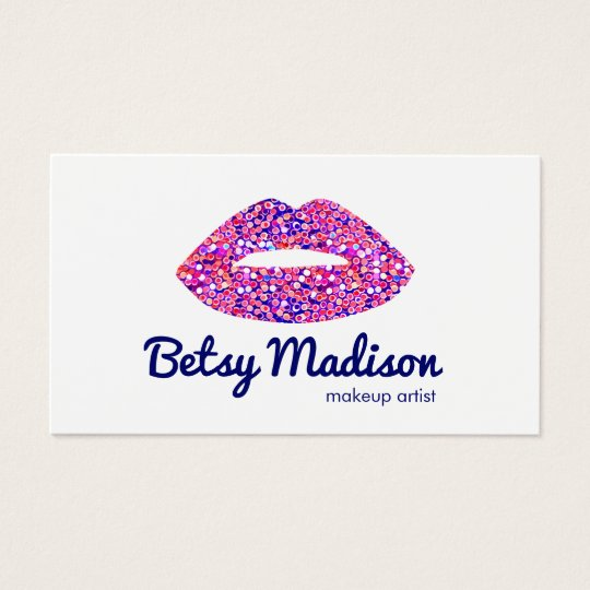 Cute Pink Confetti Lips Makeup Artist Salon Business