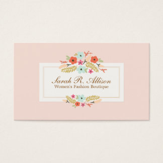 Cute Pink Country Flowers Vintage Floral Boutique Business Card