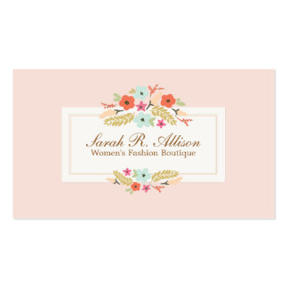Cute Pink Country Flowers Vintage Floral Boutique Pack Of Standard Business Cards