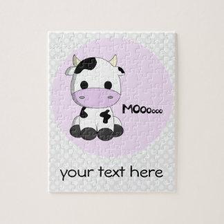 Cute pink cow cartoon customizable girls puzzle