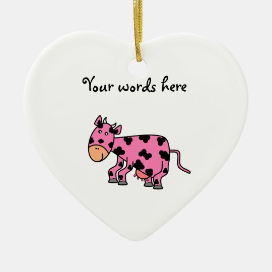 Cute pink cow christmas ornament
