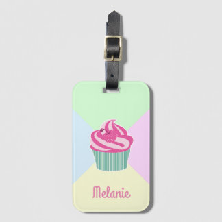 Cute Pink Cupcake and Pastel Colors Luggage Tag