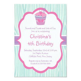 Cute Pink Cupcake Birthday Party Invitation