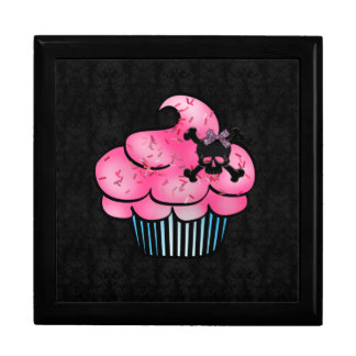 Cute Pink Cupcake & Black Skull Jewelry Box