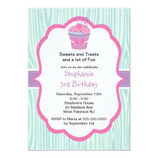Cute Pink Cupcake Girls Birthday Party Invitation