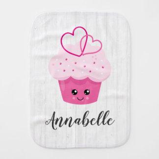 Cute Pink Cupcake Kawaii Baby Monogram Burp Cloth