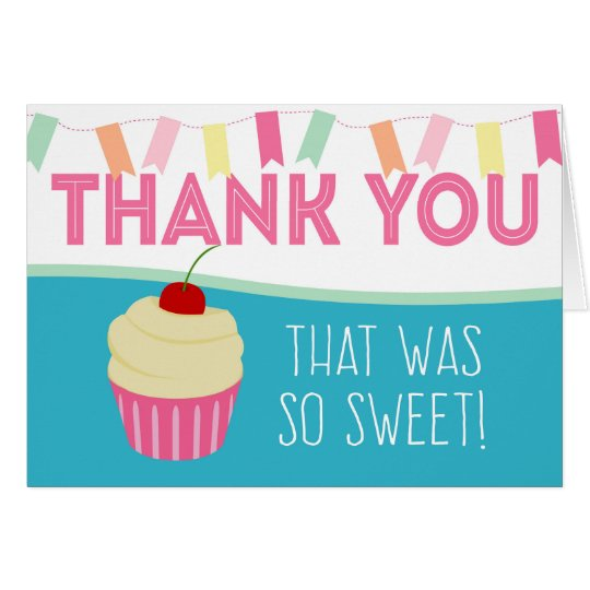 Cute Pink Cupcake Thank You Card