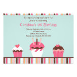 Cute Pink Cupcakes Birthday Party Invitation