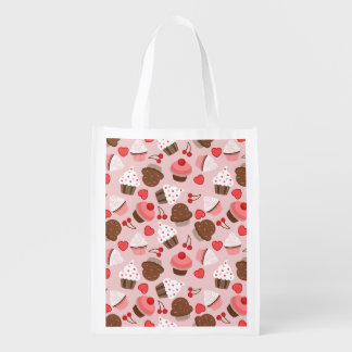 Cute Pink Cupcakes, Hearts And Cherries Pattern Reusable Grocery Bag