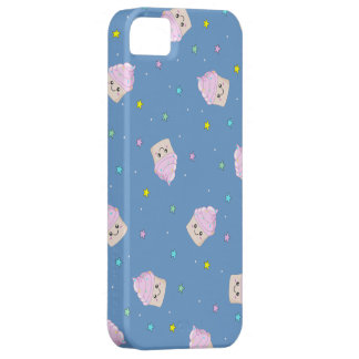 Cute pink cupcakes pattern on blue barely there iPhone 5 case