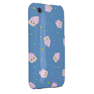 Cute pink cupcakes pattern on blue Case-Mate iPhone 3 case