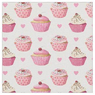 Cute Pink Cupcakes Print Fabric