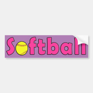 Cute Pink Custom Color Softball Bumper Sticker