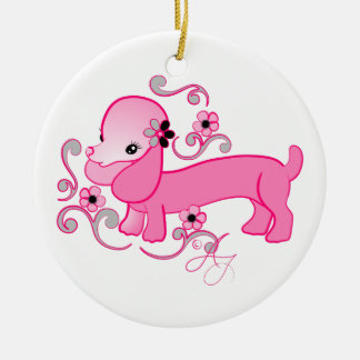 Cute Pink Dachshund Christmas Ornament