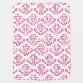 Cute Pink Damask Pattern Baby Blanket