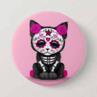 Cute Pink Day of the Dead Kitten Cat 7.5 Cm Round Badge