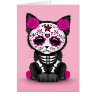 Cute Pink Day of the Dead Kitten Cat Card