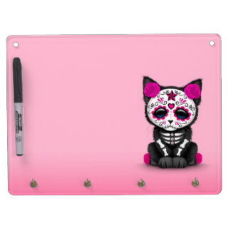 Cute Pink Day of the Dead Kitten Cat Dry Erase Board With Key Ring Holder