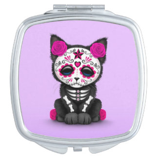 Cute Pink Day of the Dead Kitten Cat, purple Makeup Mirrors