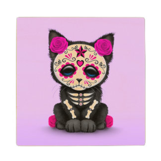 Cute Pink Day of the Dead Kitten Cat, Purple Wood Coaster