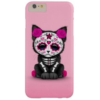 Cute Pink Day of the Dead Kitten Cat, teal blue Barely There iPhone 6 Plus Case